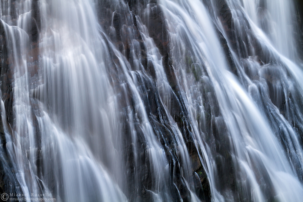 Closeup of Narada Falls during late Summer in Mount Rainier National Park, Washington State, USA