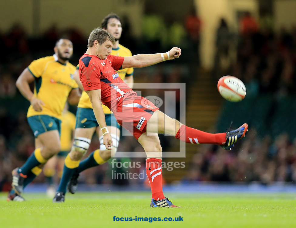 Dan Biggar of Wales puts up a box kick during the International Test Match match at the Millennium Stadium, Cardiff<br /> Picture by Michael Whitefoot/Focus Images Ltd 07969 898192<br /> 08/11/2014