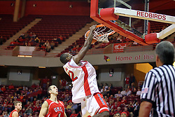 11 November 2007: Dinma Odiakosa brings the crowd to it's feet with the dunk. Illinois State Redbirds defeated the Missouri - St. Louis Tritons 70-37 in an early season game on Doug Collins Court in Redbird Arena on the campus of Illinois State University in Normal Illinois.