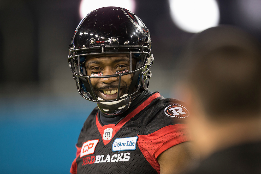 Ottawa Redblacks receiver Ernest Jackson warms up before the 104th Grey Cup against the Calgary Stampeders  in Toronto Ontario, Sunday,  November 27, 2016.  (CFL PHOTO - Geoff Robins)