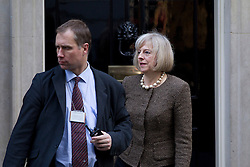 © Licensed to London News Pictures. 16/10/2012. LONDON, UK. Theresa May, the Home Secretary, is seen leaving number 10 Downing Street after today's meeting of David Cameron's cabinet in London today (16/10/12). Photo credit: Matt Cetti-Roberts/LNP