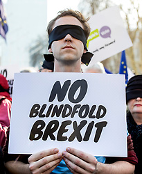 "© Licensed to London News Pictures. 14/02/2019. London, UK. A supporter of the People's Vote campaign takes part in a photocall on Parliament Square to call on the government to avoid a ""blindfold Brexit"". MPs continue to debate Brexit in Parliament, and will vote on a series of amendments today. Photo credit: Rob Pinney/LNP"