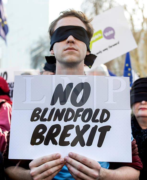 """© Licensed to London News Pictures. 14/02/2019. London, UK. A supporter of the People's Vote campaign takes part in a photocall on Parliament Square to call on the government to avoid a """"blindfold Brexit"""". MPs continue to debate Brexit in Parliament, and will vote on a series of amendments today. Photo credit: Rob Pinney/LNP"""