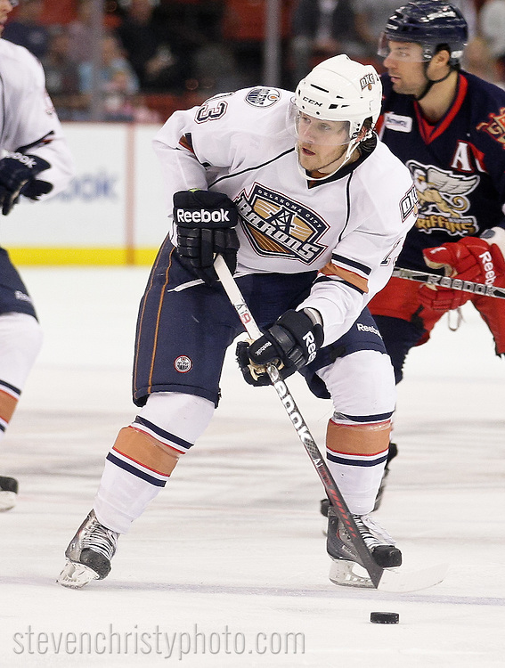 October 22, 2011: The Oklahoma City Barons play the Grand Rapids Griffins in an American Hockey League game at the Cox Convention Center in Oklahoma City.