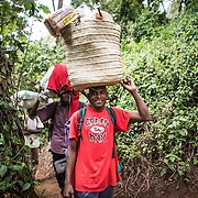 Porters walking through the forest in the lower elevations of Mount Kilimanjaro at Lemosho Glades Trailhead on Day 1 of a hike along the mountain's Lemosho route.