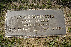 31 August 2017:   Veterans graves in Park Hill Cemetery in eastern McLean County.<br /> <br /> Lyle E Schleeter  Staff Sergeant  US Army  World War II  Oct 22 1925  Nov 4 1996