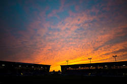 Sunset over Greenhous Meadow of Shrewsbury Town - Mandatory by-line: Dougie Allward/JMP - 17/10/2017 - FOOTBALL - Greenhous Meadow - Shrewsbury, England - Shrewsbury Town v Bristol Rovers - Sky Bet League One