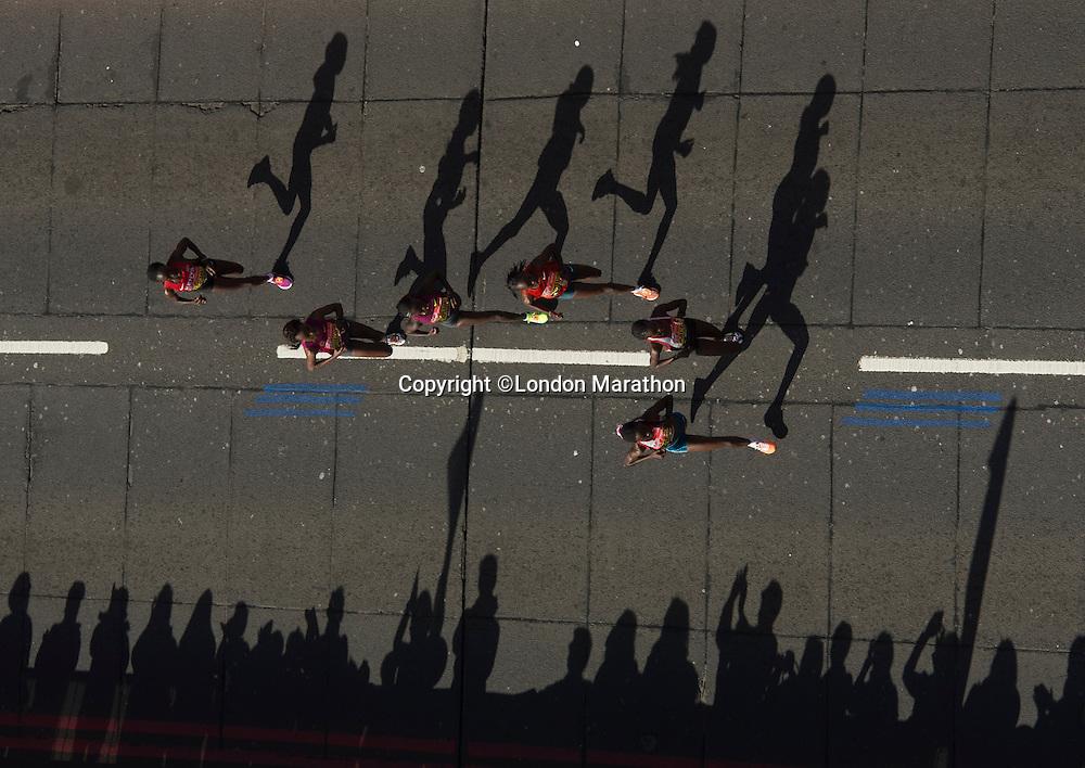 Womens Elite Group at Tower Bridge during  The Virgin Money London Marathon 2014. Sunday 13 April 2014<br /> <br /> Photo: Bob Martin/Virgin Money London Marathon<br /> <br /> media@london-marathon.co.ukWomens Elite runners crossing Tower Bridge during  The Virgin Money London Marathon 2014. Sunday 13 April 2014<br /> <br /> Photo: Bob Martin/Virgin Money London Marathon<br /> <br /> media@london-marathon.co.uk
