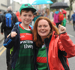 From Belmullet Helen Shannon and her son Michael Daniel on their way to the All Ireland Semi Final against Kerry at Croke Park.<br /> Pic Conor McKeown