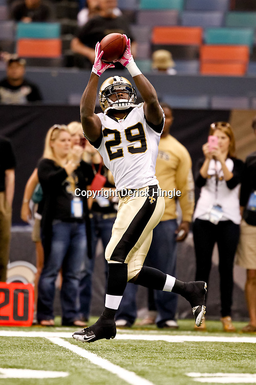 October 3, 2010; New Orleans, LA, USA; New Orleans Saints running back Chris Ivory (29) during warm ups prior to kickoff of a game between the New Orleans Saints and the Carolina Panthers at the Louisiana Superdome. Mandatory Credit: Derick E. Hingle