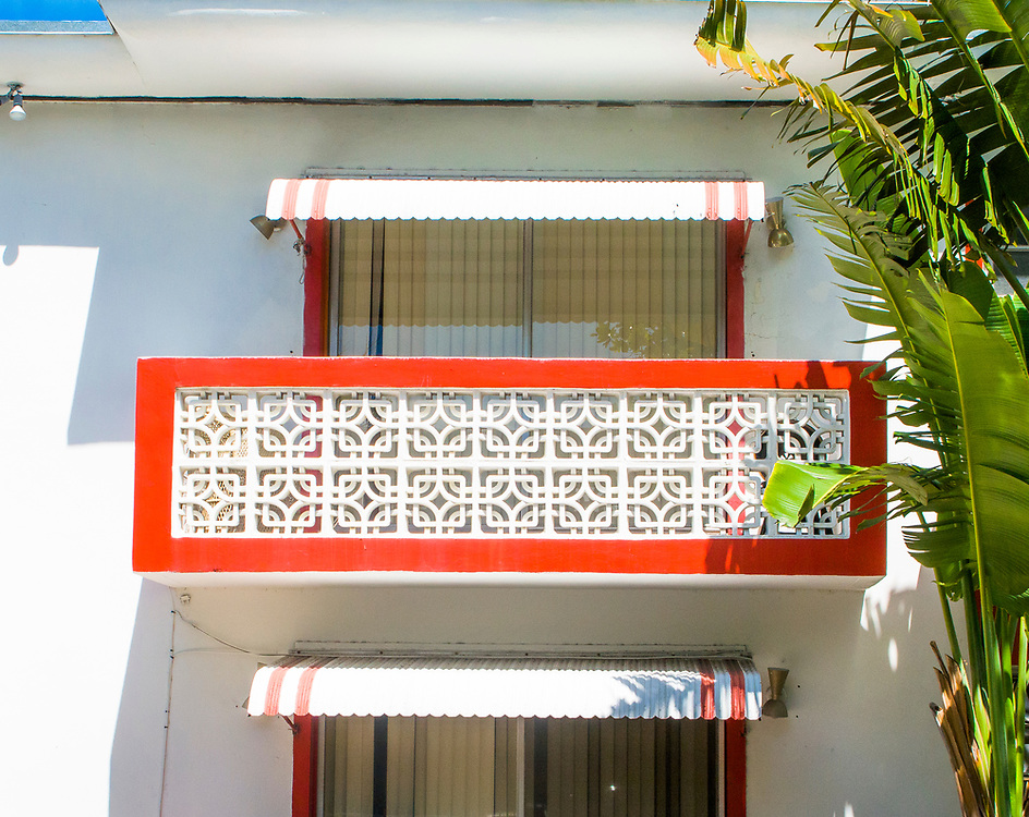 A Miami Modern (MiMo), masonry balcony  in South Beach