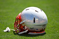 PASADENA, CA - SEPTEMBER 05:  Detailed view of a Virginia Cavaliers football helmet on the field before the game against the UCLA Bruins at the Rose Bowl on September 5, 2015 in Pasadena, California.  The UCLA Bruins defeated the Virginia Cavaliers 34-16. (Photo by Jason O. Watson/Getty Images) *** Local Caption ***