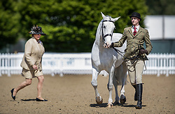 © Licensed to London News Pictures. 10/05/2017. Windsor, UK. Confirmation judge Miss M L Hennessy (L) watches as a rider runs with his horse in the Small Hunter competition category on the first day of the Royal Windsor Horse Show. The five day equestrian event takes place in the grounds of Windsor Castle. Photo credit: Peter Macdiarmid/LNP