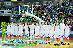 Team Slovenia during friendly basketball match between National Teams of Slovenia and Brasil at Day 2 of Telemach Tournament on August 22, 2014 in Arena Stozice, Ljubljana, Slovenia. Photo by Vid Ponikvar / Sportida