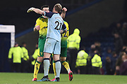 Norwich City goalkeeper Ralf Fährmann (21) celebrate the 2-1  win over Burnley with team-mate after the FA Cup match between Burnley and Norwich City at Turf Moor, Burnley, England on 25 January 2020.