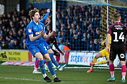 AFC Wimbledon defender Mads Bech Sorensen (26) header has just gone wide during the EFL Sky Bet League 1 match between AFC Wimbledon and Peterborough United at the Cherry Red Records Stadium, Kingston, England on 18 January 2020.
