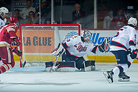 REGINA, SK - MAY 27: Max Paddock #33 of Regina Pats makes a first period save against the Acadie-Bathurst Titan at the Brandt Centre on May 27, 2018 in Regina, Canada. (Photo by Marissa Baecker/CHL Images)