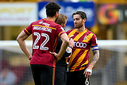 Referee has words with Bradford City midfielder Romain Vincelot (6)  during the EFL Sky Bet League 1 match between Bradford City and AFC Wimbledon at the Coral Windows Stadium, Bradford, England on 22 April 2017. Photo by Simon Davies.