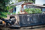 Bananas seller at floating market on Mekong Delta (Vietnam)