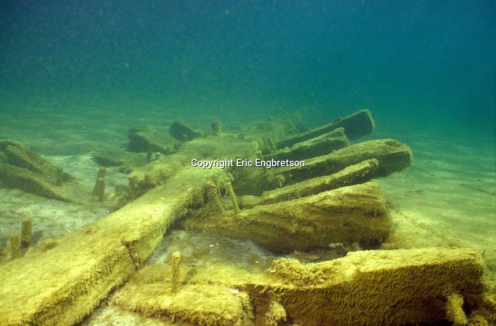 Underwater Scene-Shipwreck, Lake Michigan<br /> <br /> ENGBRETSON UNDERWATER PHOTO