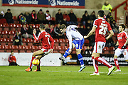Walsall's Tom Bradshaw shoots for his team equaliser during the Sky Bet League 1 match between Swindon Town and Walsall at the County Ground, Swindon, England on 24 November 2015. Photo by Shane Healey.
