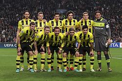 21.11.2012, Amsterdam Arena, Amsterdam, NED, UEFA Champions League, Ajax Amsterdam vs Borussia Dortmund, Gruppe D, im Bild Die Startelf, stehend vlnr: Neven SUBOTIC (Borussia Dortmund - BVB - 4), Lukasz PISZCZEK (Borussia Dortmund - BVB - 26), Robert LEWANDOWSKI (Borussia Dortmund - BVB - 9), Mats HUMMELS (Borussia Dortmund - BVB - 15), Sven BENDER (Borussia Dortmund - BVB - 6), Roman WEIDENFELLER (Torwart Borussia Dortmund - BVB - 1), hockend vlnr: Kevin GROSSKREUTZ (Borussia Dortmund - BVB - 19), Marco REUS (Borussia Dortmund - BVB - 11), Mario GOETZE (Borussia Dortmund - BVB - 10), Marcel SCHMELZER (Borussia Dortmund - BVB - 29), Ilkay GUENDOGAN (Borussia Dortmund - BVB - 8) // during UEFA Champions League group D match between Ajax Amsterdam and Borussia Dortmund at the Amsterdam Arena, Amsterdam, Netherlands on 2012/11/21. EXPA Pictures © 2012, PhotoCredit: EXPA/ Eibner/ Ben Majerus..***** ATTENTION - OUT OF GER *****