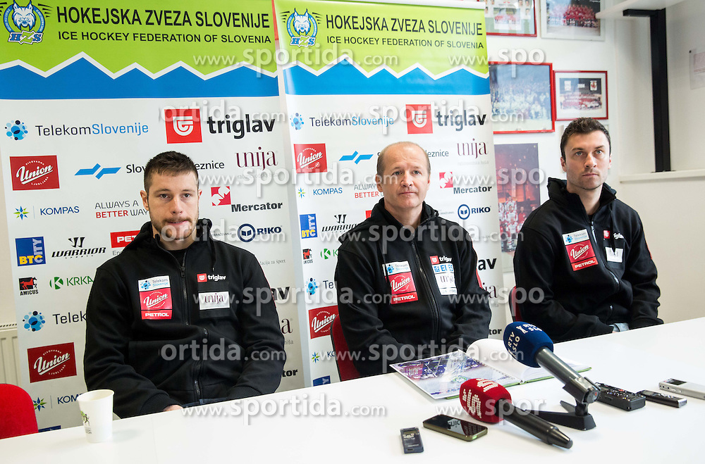 Jan Urbas, Nik Zupancic, head coach and Sabahudin Kovacevic during press conference of Slovenian National Ice Hockey Team at the beginning of the Training Camp for IIHF World Championship Division I in Katowice (Poland), on April 4, 2016 in Arena Podmezakla, Jesenice, Slovenia. Photo by Vid Ponikvar / Sportida