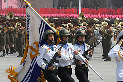 PYONGYANG, April 15, 2017  Soldiers attend a military parade in central Pyongyang, April 15, 2017. The Democratic People's Republic of Korea (DPRK) Saturday showcased its military muscles by parading all of its most-advanced ballistic and tactic missiles, including a submarine-launched ballistic missile which could strike targets 1000 km away.  wtc) (Credit Image: © Zhu Longchuan/Xinhua via ZUMA Wire)