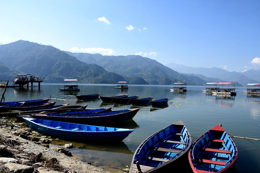 Boats on lake Pewa, Pokhara, Nepal
