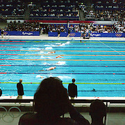 A panoramic image of competition at the Sydney Olympic Pool at Sydney Olympic Park, during the  2000 Sydney Olympic Games...Panoramic images from the Sydney Olympic Games, Sydney, Australia. 2000 . Photo Tim Clayton