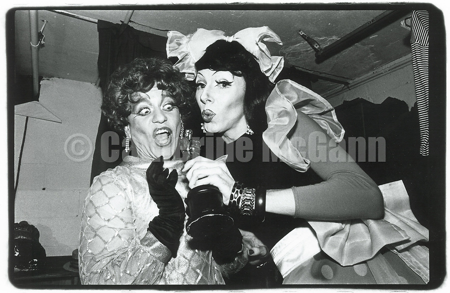 1990's:  Drag performer Lypsinka (L) and friend backstage at La Mama Experimental Theater in New York City.