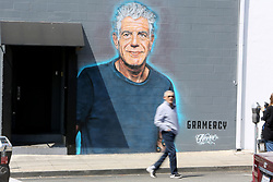 A mural of Anthony Bourdain was painted in tribute to the late chef on the wall of Gramercy in Santa Monica, CA. 18 Jun 2018 Pictured: Anthony Bourdain. Photo credit: MB / MEGA TheMegaAgency.com +1 888 505 6342