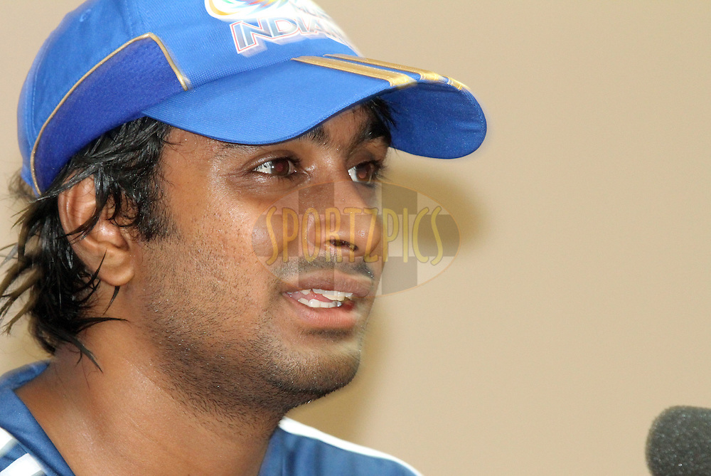 Ambati Rayudu of Mumbai Indians addressing the press after the match 8 of the the Indian Premier League ( IPL ) Season 4 between the Royal Challengers Bangalore and the Mumbai Indians held at the Chinnaswamy Stadium, Bangalore, Karnataka, India on the 12th April 2011..Photo by Mahesh Jha/BCCI/SPORTZPICS