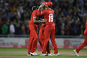 Lancashires Toby Lester congratulated by Lancashires Arron Lilley for stopping Yorkshire getting the 4 runs required off the last ball during the Vitality T20 Blast North Group match between Lancashire County Cricket Club and Yorkshire County Cricket Club at the Emirates, Old Trafford, Manchester, United Kingdom on 20 July 2018. Picture by George Franks.