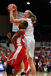 March 21, 2011; Stanford, CA, USA; Stanford Cardinal forward Mikaela Ruef (3) shoots over St. John's Red Storm guard Shenneika Smith (35) during the second half of the second round of the 2011 NCAA women's basketball tournament at Maples Pavilion. Stanford defeated St. John's 75-49.