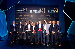 NS Mura with Matko Obradovic, Klemen Sturm, Rok Sirk and Ante Šimundža, head coach of Mura during SPINS XI Nogometna Gala 2019 event when presented best football players of Prva liga Telekom Slovenije in season 2018/19, on May 19, 2019 in Slovene National Theatre Opera and Ballet Ljubljana, Slovenia. Photo by Vid Ponikvar / Sportida