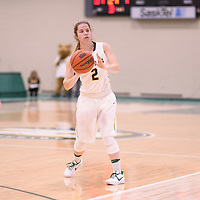 3rd year guard Michaela Kleisinger (2) of the Regina Cougars during the Women's Basketball home game on November 24 at Centre for Kinesiology, Health and Sport. Credit: Arthur Ward/Arthur Images