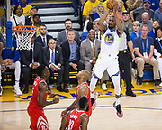 Golden State Warriors forward Kevin Durant (35) shoots a jumper against the Houston Rockets during Game 6 of the Western Conference Finals at Oracle Arena in Oakland, Calif., on May 26, 2018. (Stan Olszewski/Special to S.F. Examiner)