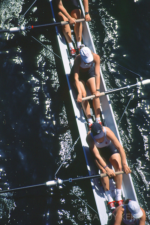 Crew race from above