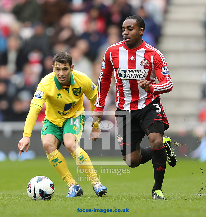 Picture by Paul Gaythorpe/Focus Images Ltd +447771 871632.17/03/2013.Wes Hoolahan of Norwich City and Danny Rose of Sunderland during the Barclays Premier League match at the Stadium Of Light, Sunderland.