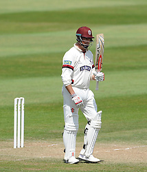 Somerset's Marcus Trescothick celebrates his half century - Photo mandatory by-line: Harry Trump/JMP - Mobile: 07966 386802 - 16/06/15 - SPORT - CRICKET - LVCC County Championship - Division One - Day Three - Somerset v Nottinghamshire - The County Ground, Taunton, England.