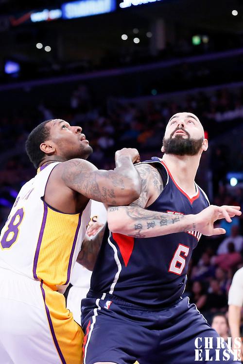 15 March 2015: Atlanta Hawks forward Pero Antic (6) vies for the rebound with Los Angeles Lakers forward Tarik Black (28) during the Atlanta Hawks 91-86 victory over the Los Angeles Lakers, at the Staples Center, Los Angeles, California, USA.