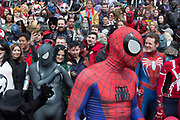 UNITED KINGDOM, London: 25 May 2019 <br /> Hundreds of cosplay fans gather for a picture outside of the London ExCeL during the MCM London Comic Con earlier today. Thousands of cosplay enthusiasts will come to the ExCeL Centre this weekend to enjoy the convention.