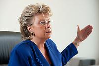 17 SEP 2010, BERLIN/GERMANY:<br /> Viviane Reding, EU-Kommissarin fuer Justiz, Grundrechte und Buergerschaft, waehrend einem Interview, Vertretung der Europaeischen Kommision in Berlin<br /> IMAGE: 20100917-01-036