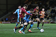 Connor Wood forces Chris Hussey to miss his shot  during the EFL Sky Bet League 2 match between Bradford City and Cheltenham Town at the Utilita Energy Stadium, Bradford, England on 28 January 2020.