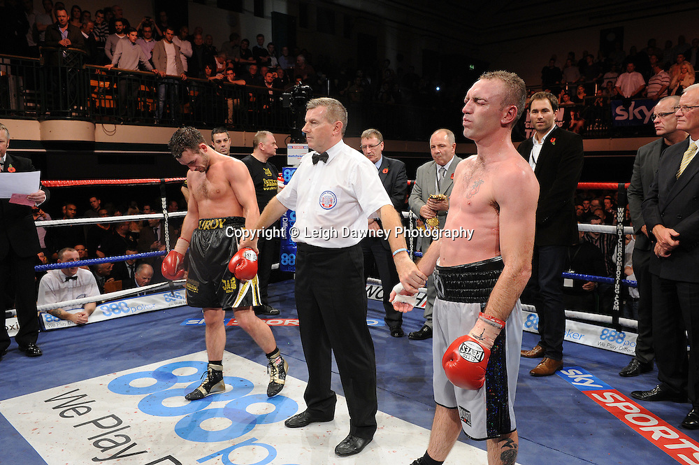 Colin Lynes and Lee Purdy await the judges decision for the British Welterweight Title at York Hall 09.11.11. Matchroom Sport. Photo credit: © Leigh Dawney 2011.