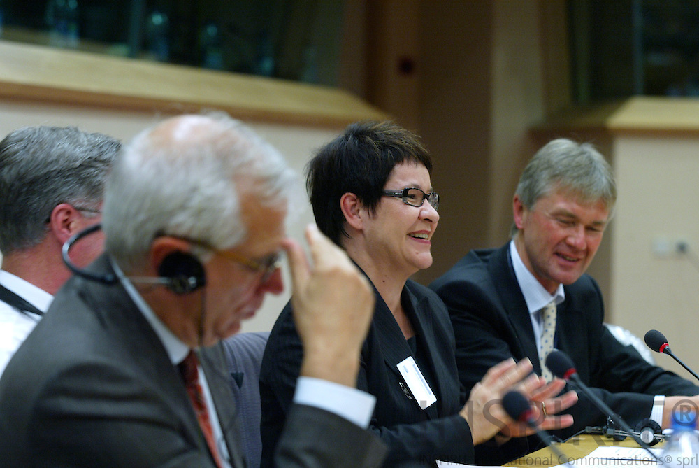 BRUSSELS - BELGIUM - 17 OCTOBER 2006 -- Conference:  Working time and work-life balance:.A policy dilemma?  -- From left Josep BORRELL, President of the European Parliament, Tarja FILATOV, Finnish Minister of Labour, and Jorma KARPPINEN, Directo, European Foundation for the improvement of living and working conditions (EUROFOUND).   PHOTO: ERIK LUNTANG /