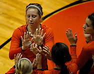 1 Nov. 2011 -- EDWARDSVILLE, Ill. --  Edwardsville High School volleyball player Hannah Frierdich (12) is greeted by her teammates before the Tigers played Belleville West High School during the the IHSA Class 4A girls volleyball sectional semifinal at Edwardsville High School in Edwardsville, Ill. Tuesday, Nov. 1, 2011. Photo © copyright 2011 Sid Hastings.