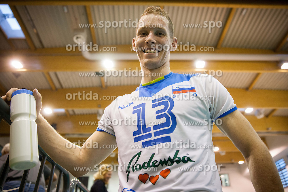 Tine Urnaut of Slovenia after the friendly volleyball match between National teams of Slovenia and Bulgaria on August 29, 2013 in Hoce, Slovenia. Slovenia defeated Bulgaria 3-1. (Photo by Vid Ponikvar / Sportida.com)
