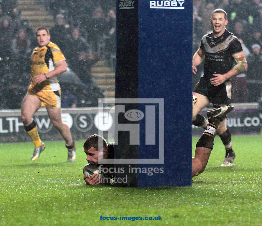 Picture by Richard Gould/Focus Images Ltd +447814 482222.15/03/2013.Josh Bowden of Hull Football Club gets on the score sheet during the Super League match at the KC Stadium, Kingston upon Hull.